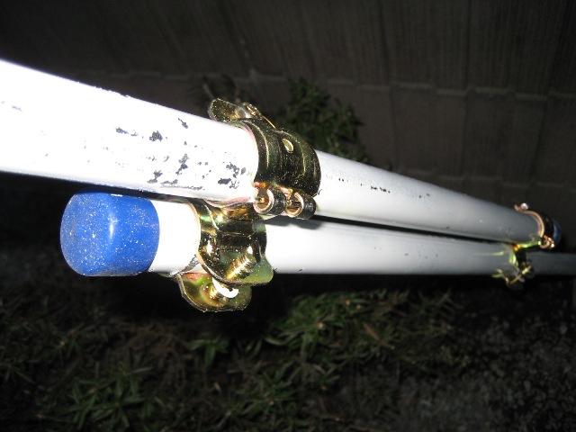 2本の単管を平行に接続して調節幅を持たせる