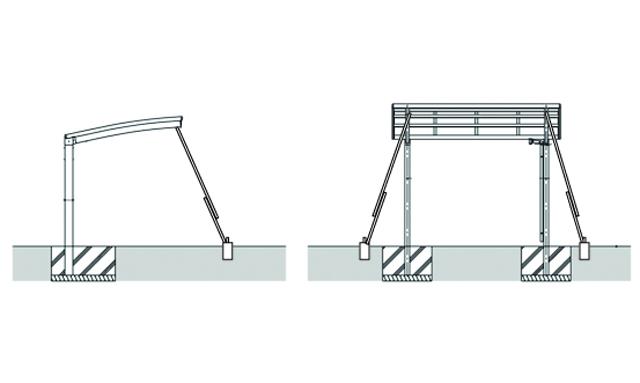 DIYカーポートつっぱり補強の図