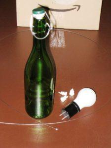 井筒ワインの瓶をランプシェードにしようと・・・