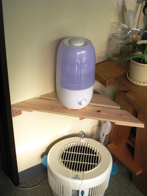 気化式ファンの風の中に超音波加湿器のミストを気化させる
